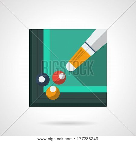 Cue and three pool balls in a corner pocket. Training in billiard skills. Sport hobby symbol. Stylish square flat design green vector icon with long shadow.