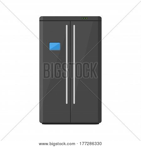 Black modern household appliances fridge with two doors isolated on white background. Electronic device refrigerator. Home appliance freezer vector illustration.