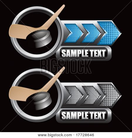 hockey stick and puck blue and gray arrow nameplates