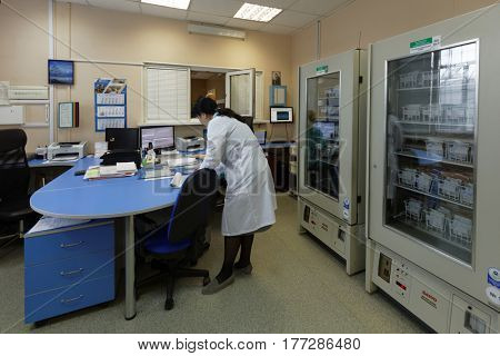 ST. PETERSBURG, RUSSIA - FEBRUARY 20, 2017: Staff of the city blood transfusion station working in the delivery point. This year the station celebrates its 65th anniversary