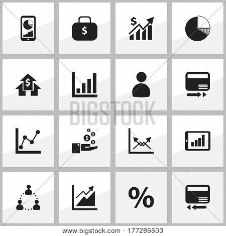 Set Of 16 Editable Statistic Icons. Includes Symbols Such As Progress, Revenue, Transmission And More. Can Be Used For Web, Mobile, UI And Infographic Design.