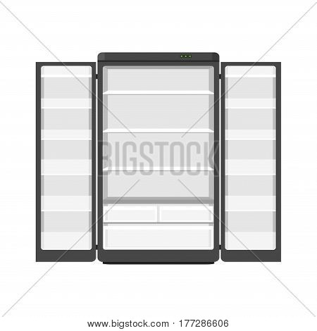 Black modern household appliances fridge with two doors isolated on white background. Electronic device refrigerator open. Home appliance freezer vector illustration.