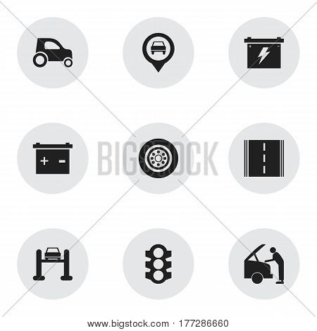 Set Of 9 Editable Vehicle Icons. Includes Symbols Such As Vehicle Car, Accumulator, Stoplight And More. Can Be Used For Web, Mobile, UI And Infographic Design.