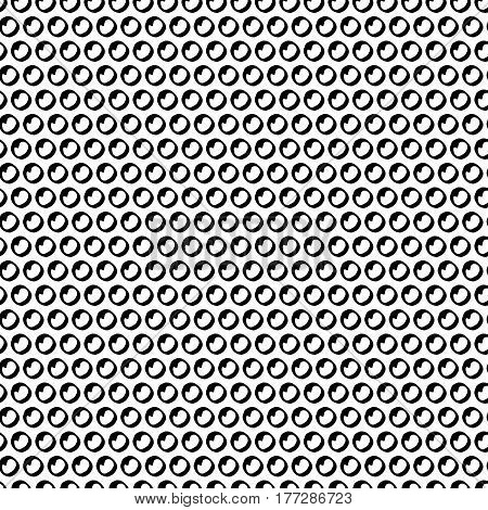 Abstract cute pattern with hand drawn polka dots. Trendy vector black and white cute pattern. Seamless monochrome cute pattern for fabric, wallpapers, wrapping paper, cards and web backgrounds.