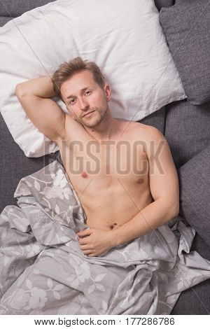 One Young Man, Elevated View, Bed Sofa Laying Lying