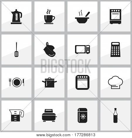 Set Of 16 Editable Cooking Icons. Includes Symbols Such As Kitchen Shovel, Pan, Bowl And More. Can Be Used For Web, Mobile, UI And Infographic Design.