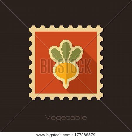 Turnip flat stamp. Vegetable root vector illustration