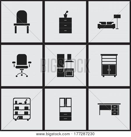 Set Of 9 Editable Furnishings Icons. Includes Symbols Such As Wardrobe, Ergonomic Seat, Plant Pot And More. Can Be Used For Web, Mobile, UI And Infographic Design.