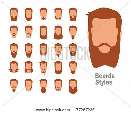 Set with various types of beards. Style. Big, small, flat, short, curly, pyramidal. Isolated art on white background Vector Cartoon Flat Man