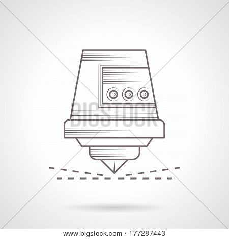 Abstract symbol of CNC cutting laser. Industrial machines and modern technology. Vintage design vector icon.