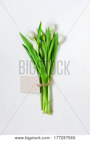 White Tulips With Empty Label