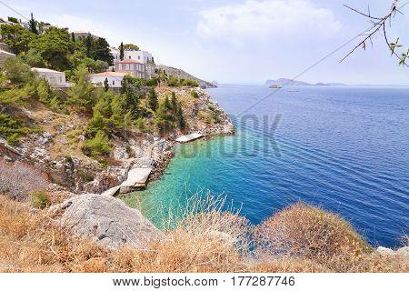 landscape of a small beach at Hydra island Saronic Gulf Greece