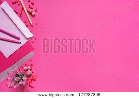 Bright pink background with decorated for girls