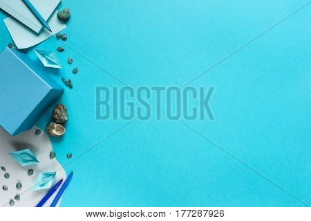 Blue Background With Paper Boats For Kids