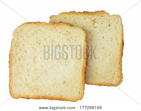 Slices of bread on the white background