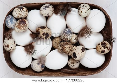 Various Fresh Raw Eggs And Feathers On The Wooden Table