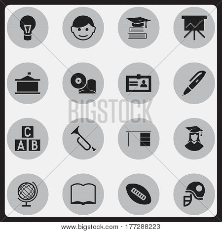 Set Of 16 Editable Science Icons. Includes Symbols Such As Compact Disk, Bugle, Hardhat And More. Can Be Used For Web, Mobile, UI And Infographic Design.