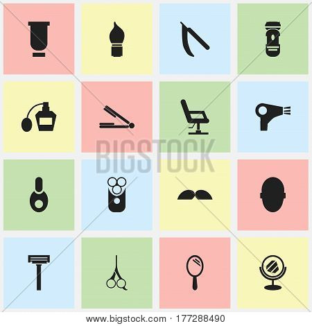 Set Of 16 Editable Barbershop Icons. Includes Symbols Such As Peeper, Vial, Container And More. Can Be Used For Web, Mobile, UI And Infographic Design.