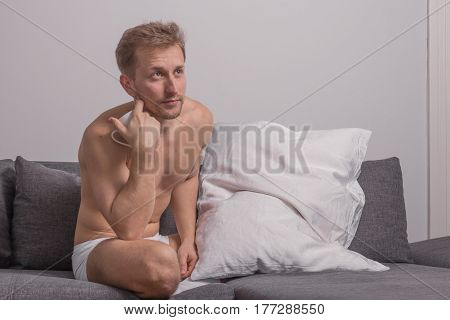 One Young Man, Looking Shirtless Body Sitting Sofa Bed