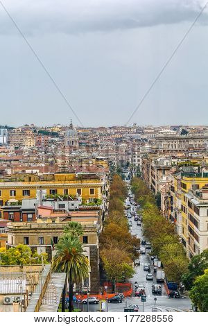 View of Rome from window of Vatican museum