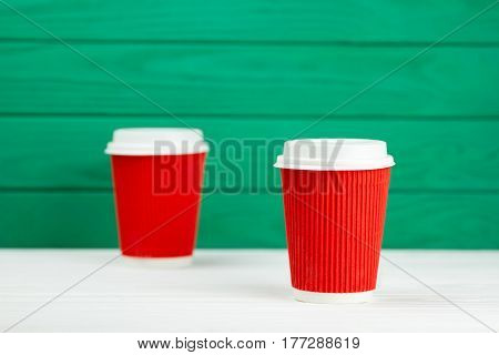 two blur red paper cardboard coffee Cup