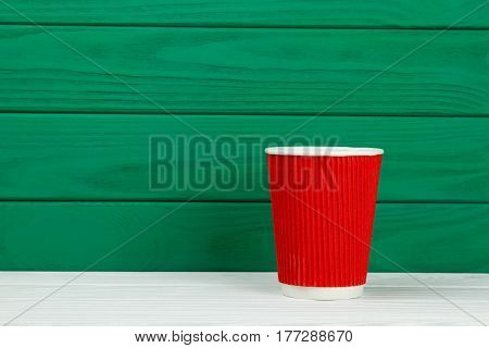 red paper cardboard coffee Cup texture green