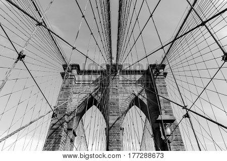 The Brooklyn Bridge in New York City, black and white