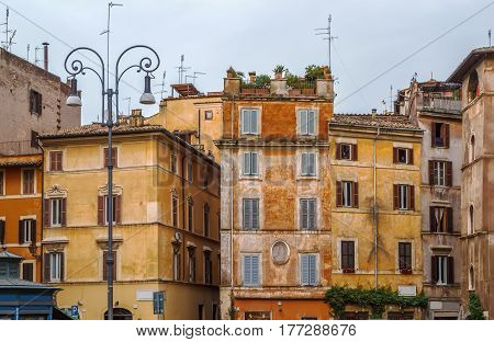 Street with historical houses in Rome Italy