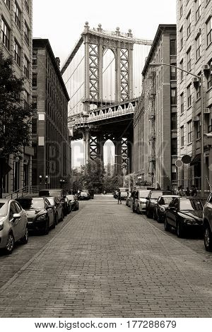 The Manhattan Bridge landscape on Dumbo area, black and white