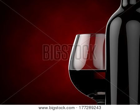 Bottles and glasses with red wine on a red gradient background. 3d illustration.