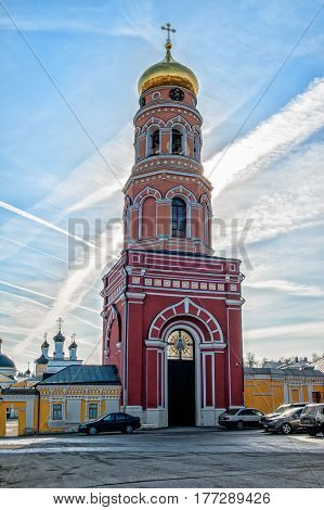 The bell tower of the ascension of David Desert Chekhov district of Russia, historical and cultural monuments of Christianity