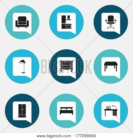 Set Of 9 Editable Furnishings Icons. Includes Symbols Such As Commode, Ergonomic Seat, Recliner And More. Can Be Used For Web, Mobile, UI And Infographic Design.