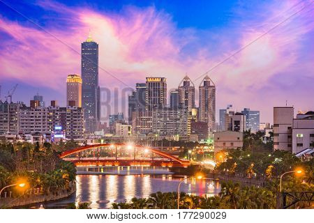 Kaohsiung, Taiwan Skyline at twilight.