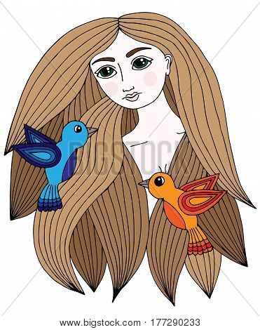 Colorful portrait of a beautiful girl with two little bird in hair. Vector Illustration. Trendy print. Girl portrait for coloring book card invitation posters placards banners.