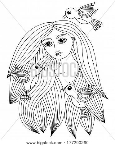 Portrait of a beautiful girl with three little bird. Vector Illustration. Trendy print. Girl portrait for coloring book card invitation posters placards banners.