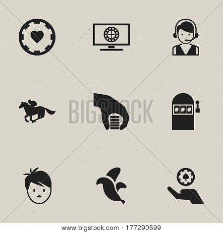 Set Of 9 Editable Excitement Icons. Includes Symbols Such As Boy, Jockey, Casino Chip And More. Can Be Used For Web, Mobile, UI And Infographic Design.