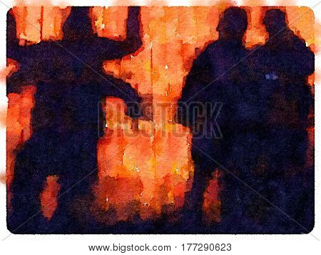 Digital watercolor painting of four people creating shapes as sihouettes. Two people creating a four arm person. Orange background and space for text.