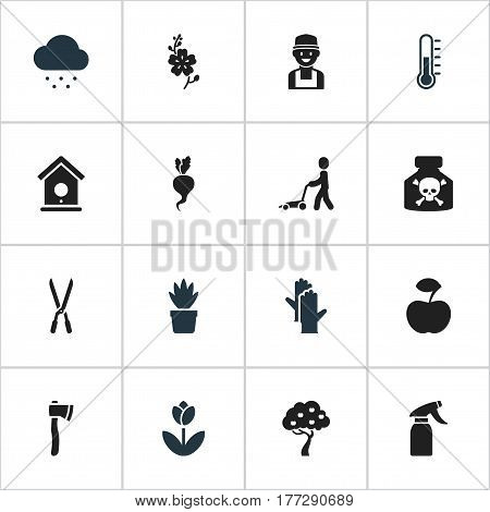 Set Of 16 Editable Planting Icons. Includes Symbols Such As Beauty Flower, Farmer, Grass Cutting Machine And More. Can Be Used For Web, Mobile, UI And Infographic Design.