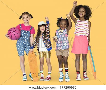 Children Girlfriends Smiling Happiness Friendship Togetherness Studio Portrait
