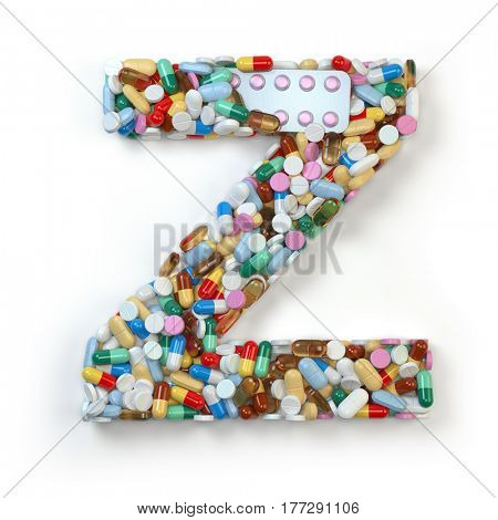 Letter Z. Set of alphabet of medicine pills, capsules, tablets and blisters isolated on white. 3d illustratio