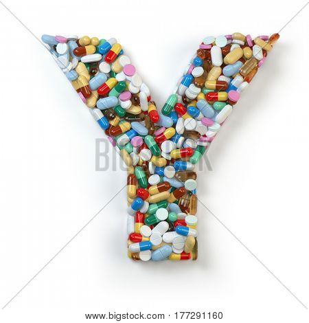 Letter Y.  Set of alphabet of medicine pills, capsules, tablets and blisters isolated on white. 3d illustratio