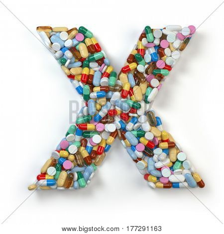 Letter X. Set of alphabet of medicine pills, capsules, tablets and blisters isolated on white. 3d illustratio