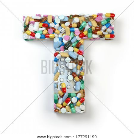 Letter T. Set of alphabet of medicine pills, capsules, tablets and blisters isolated on white. 3d illustratio