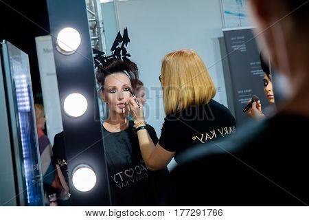 MOSCOW RUSSIA - MARCH 14 2017: Backstage for YULIA KOSYAK catwalk at Fall-Winter 2017-2018 at Mercedes-Benz Fashion Week Russia.