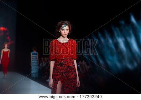 MOSCOW RUSSIA - MARCH 14 2017: Model walk runway for DARIA DASHINA catwalk at Fall-Winter 2017-2018 at Mercedes-Benz Fashion Week Russia.