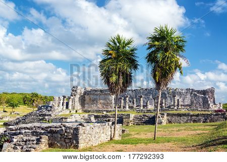 View of impressive Mayan ruins in Tulum Mexico