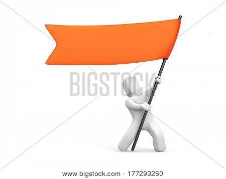 3d man waving red flag. 3d illustration