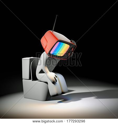 Character with TV had sitting on the toilet bowl. Propaganda Symbolism. 3d illustration