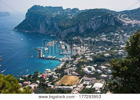Aerial view of Capri Island in Italy
