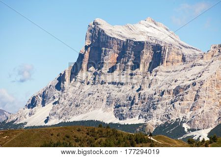 Kreuzkofel Gruppe view of mount Heiligkreuzkofel and Zehnerspitze or Cima Dieci South Tirol Dolomites mountains Italy